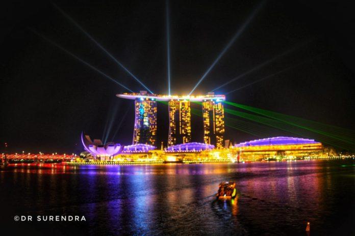 Laser show at Marina