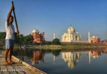 Taj Mahal seen from River Yamuna