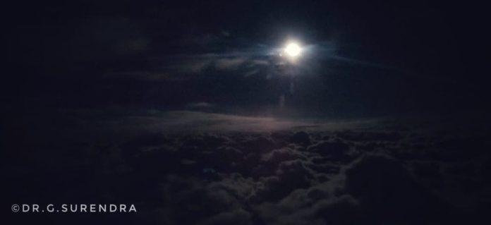 Moon light at 30000 feet