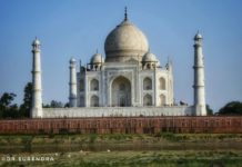 Taj Mahal from the other side of river Yamuna