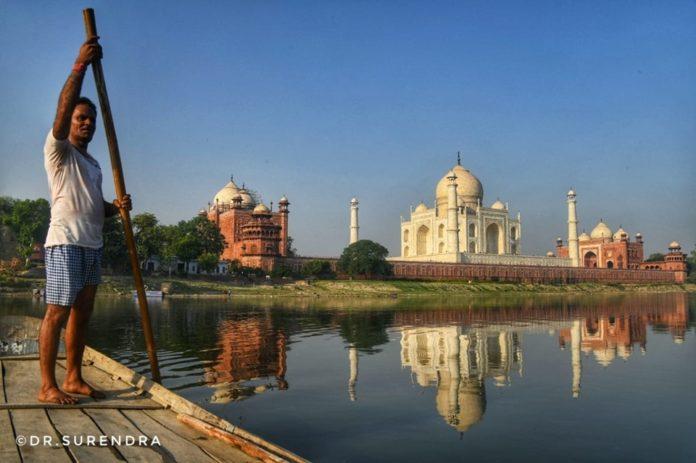 Taj Mahal seen from River Yamuna