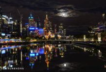 Nightscape of Melbourne Australia.