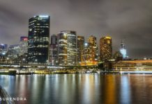 Nightscape of central business district, Sydney, Australia