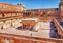 The inner courtyard in residential palace of Amber fort Jaipur Rajasthan