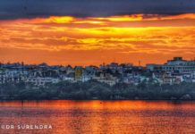Evening glow at Hussain Sagar Hyderabad.
