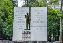 *My Picture of the day* Mahatma Gandhi in Mexico City - while coming back from Anthropology museum the guide showed me the statue of Gandhiji situated in the Mahatma Gandhi Avenue, Chapultepec Park, Mexico City. ***** *Dr.Surendra* — in Mexico City, Mexico.
